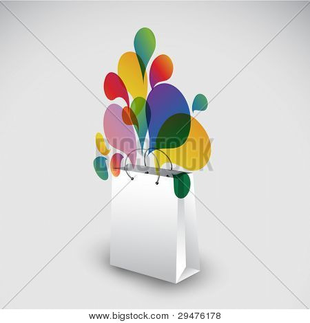 Exploding gift bag - Abstract vector illustration full of colors