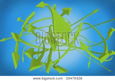 Many twisting green arrows on a blue background