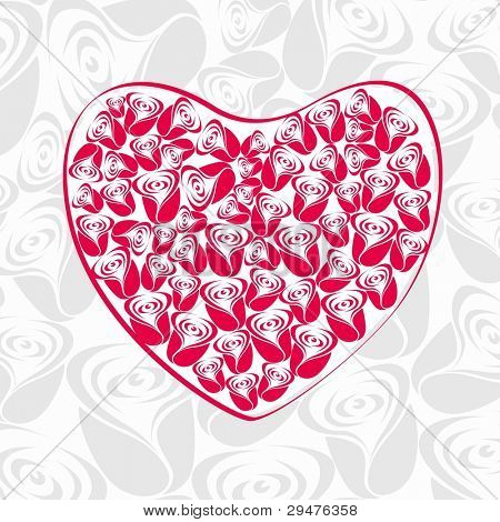 Vector illustration of heart shapes made with pink roses on seamless roses background for Valentines Day and other occasions.