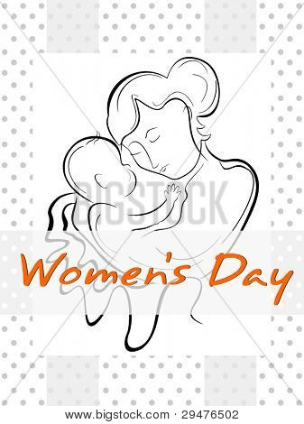 Vector illustration of a woman or a mother having her baby with the line art creation.