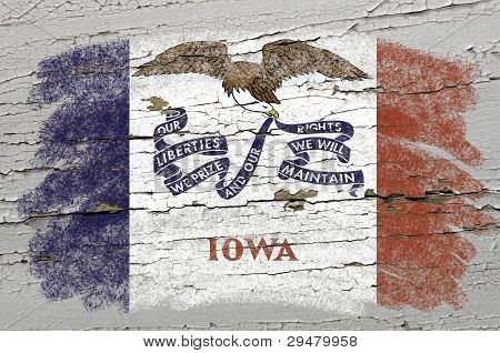 Flag Of Us State Of Iowa On Grunge Wooden Texture Precise Painted With Chalk