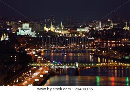 Pushkinsky bridge and Krymsky bridge at dark night in Moscow, Russia.