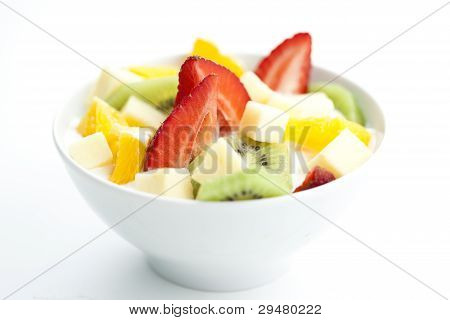 Fruit Salad With Chunks Of Fruit And Yogurt