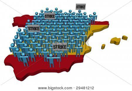 trabalhadores em greve em ilustração de bandeira de mapa de Espanha