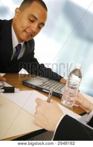 Business Man Getting Agreement