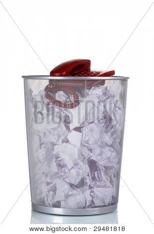red phone and paper in metal trash bin isolated on white