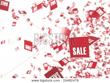 Red sale tags exploding or erupting in to a bright white space.