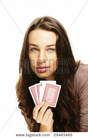 tense looking woman playing poker