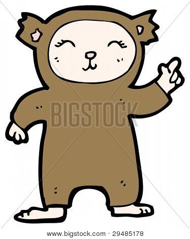 pointing kid in bear costume cartoon (raster version)