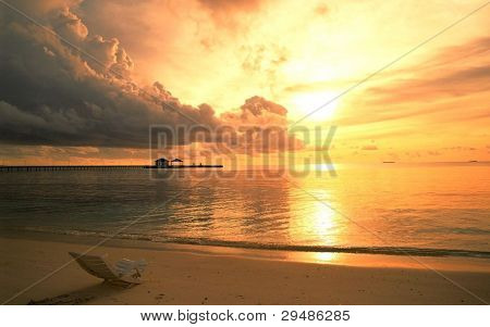Sunset View By Ocean