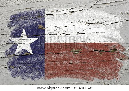 Flag Of Us State Of Texas On Grunge Wooden Texture Precise Painted With Chalk