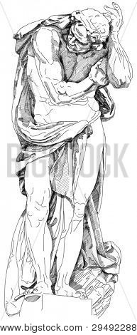 Statue of a man who holds the element on the facade of the building. Black and white illustration. Decorative element of the facade of a historic building in Prague. Bitmap copy my vector
