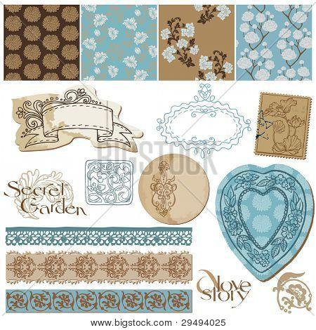 Sammelalbum Design Elemente Vintage Blumen Tapeten und alte Elemente im Vektor