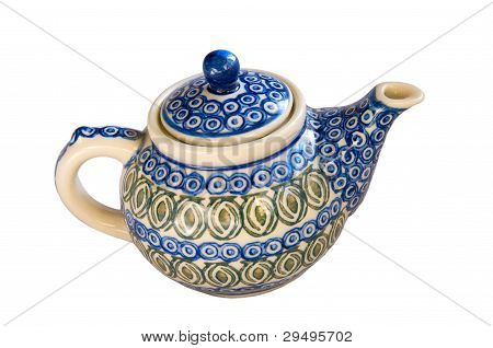 Hand Painted Teapot Dish On White Background