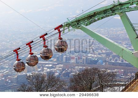 Famous cable cars of Grenoble, France.