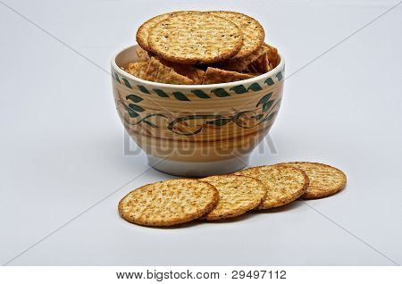 Cracker Biscuits In Dish.