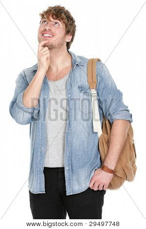 Thinking young student man looking up. Pensive casual male university student with bag smiling happy isolated on white background. Handsome young man in his 20s