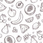 Doodle Fruits Seamless Pattern. Sketch Fresh Organic Berries Vector Endless Texture. Fruits And Berr poster