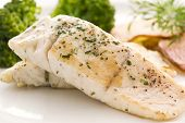 stock photo of halibut  - Barramundi Filet with Chips - JPG