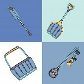 Set Of Snow Removal Equipment: Pusher, Roof Rake, Shovel And De-icing Torch. Fine For Ice And Snow R poster
