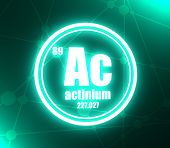 Actinium Chemical Element. Sign With Atomic Number And Atomic Weight. Chemical Element Of Periodic T poster