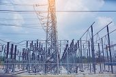Electric Power Transmission Lines, High Voltage Power Transformer Substation, High Voltage Switchgea poster