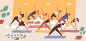 Cute Funny People Practicing Yoga Together. Group Of Smiling Active Men And Women Performing Gymnast poster