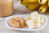 Early Morning Healthy Breakfast. Homemade Peanut Butter And Bananas. Homemade Peanut Butter Ingredie poster