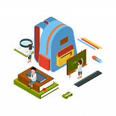 Backpack Isometric. School Stationary Items Education Happy People College Bag Vector Concept. Illus poster