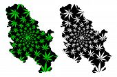 Serbia - Map Is Designed Cannabis Leaf Green And Black, Republic Of Serbia Map Made Of Marijuana (ma poster