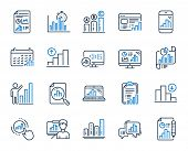 Graph Line Icons. Set Of Chart Presentation, Report, Increase Growth Graph Icons. Analytics Testing, poster