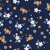 Vintage Floral Background. Seamless Vector Pattern For Design And Fashion Prints. Flowers Pattern Wi poster