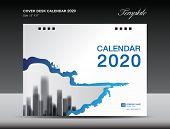 Cover Desk Calendar 2020 Design, Flyer Template, Ads, Booklet, Catalog, Newsletter, Book Cover, Annu poster