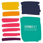 Vector Set Of Hand Drawn Marker Strokes Various Rectangular Shape For Backdrops. Colorful Artistic H poster
