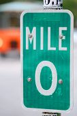 Mile Zero Sign In Key West, Florida, Usa. Mile Zero Sign Is The Starting Point Of U.s. Route 1 At 49 poster