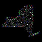 Bright Mesh New York State Map With Glare Effect. Wire Carcass Triangular Mesh In Vector Format On A poster