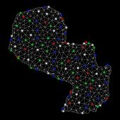 Bright Mesh Paraguay Map With Glare Effect. Wire Carcass Polygonal Network In Vector Format On A Bla poster