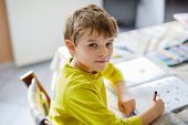 Portrait Of Cute School Kid Boy At Home Making Homework. Little Concentrated Child Writing With Colo poster