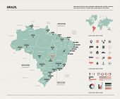 Vector Map Of Brazil.  High Detailed Country Map With Division, Cities And Capital Brasilia. Politic poster