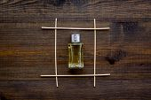 Fragrance Diffuser For Air Freshness On Wooden Background Top View Mock-up poster