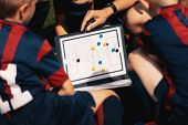 Football Coach Board. Sports Football Education. Close-up Of Coach Coaching Kids Using Magnetic Tact poster
