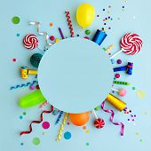 Colorful birthday party flat lay background with copyspace poster