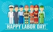Happy Labor Day Poster With Group Of People Of Different Professions. poster
