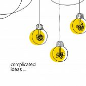 No Creativity Complicated Idea Concept Illustration. Simple Line Hanging Light Bulb With Yellow Back poster