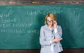 Worried About Her Exams. Modern School. Knowledge Day. Woman In Classroom. Back To School. Teachers  poster