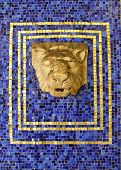 Lion Head  Surrounded By Elaborate Mosaic