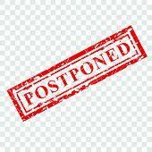 Vector 1 Red Grunge Rubber Stamp Effect, Postponed At Transparent Effect Background. poster