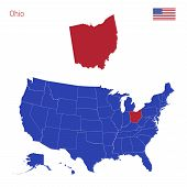 The State Of Ohio Is Highlighted In Red. Blue Vector Map Of The United States Divided Into Separate  poster