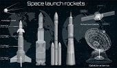 Space Launch Rockets, Spacecraft Set, Space Dish, Space Satellite, 3d Spaceship In The Hud Style, El poster