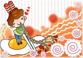 Cute Young Boy with Tasty and Spicy Ramen in a snack bar - background with spiral of 'fish cake' and noodle pattern poster